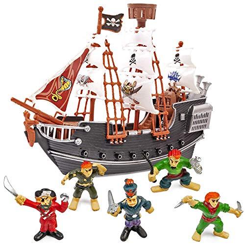 THE TWIDDLERS Piratenschiff-Spielzeug mit 12 Piratenfiguren