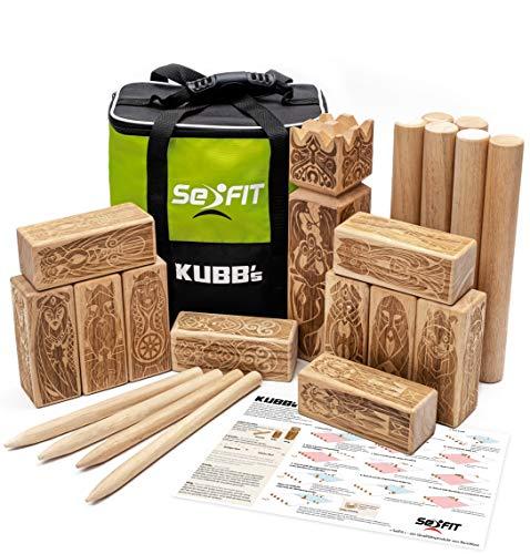SeiFIT Original Kubb Spiel aus Gummibaumholz - Wikingerschach für...