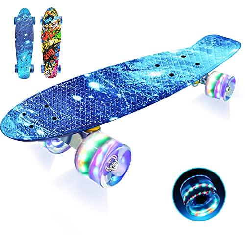 LISOPO Mini Cruiser Skateboard Komplette 57cm mit/ohne Blinkenden Led...