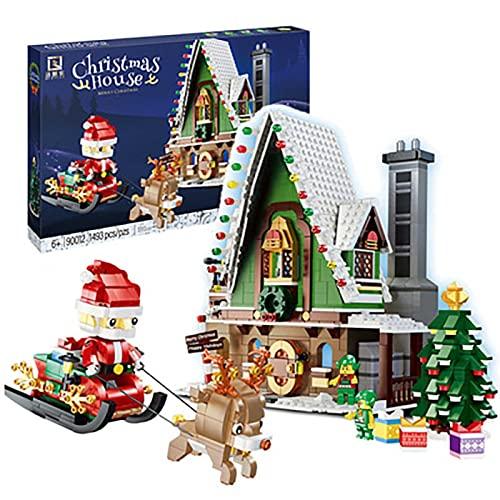 FYHCY Bausteine Weihnachtshaus, 1493 Teile Winterliche Hütte Modular...