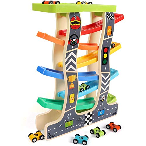 Lewo Kugelbahn Auto Holz mit 8 Fahrzeuge Auto Rennbahn Holz Spielzeug...