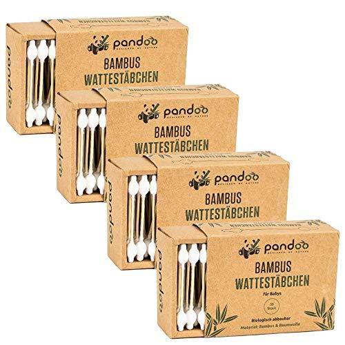 pandoo 4er Pack Bambus Wattestäbchen mit großem Sicherheitskopf (220...