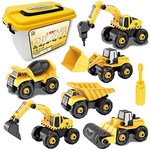 Sanlebi Montage Auto LKW Spielzeug, 6 Stücke BAU Bagger Kinder...