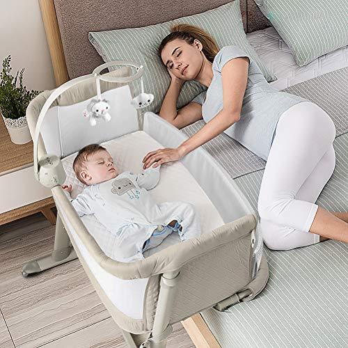 ADOVEL 2 in 1 Babybett, Beistellbett Baby und Freistehendes Kinderbett, Baby Bett mit Rollen, Matratze, Musik...