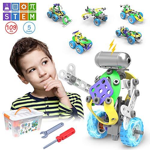 CENOVE STEM 5 IN 1 Bildungsbausteine Spielzeug für Junge, 109 Stück Konstruktionsspielzeug mit Elektromotor...