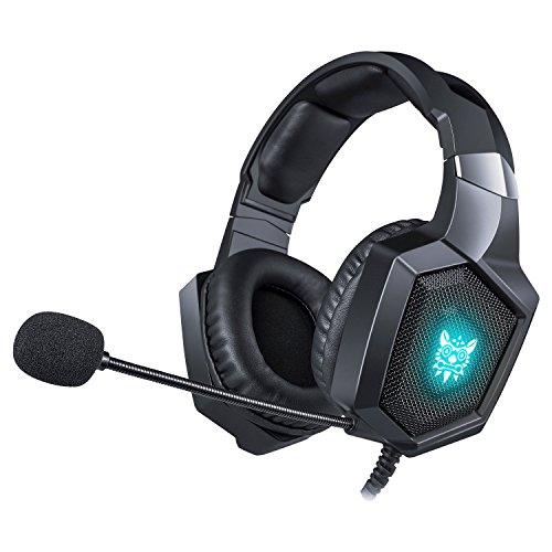 WONSUN Gaming Headset PS4 Xbox One, Gamer mit Mikrofon, Anti-Bruit, LED, Stereo, Niedrige Lautstärkeregelung...