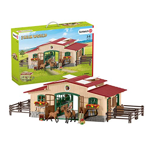 Schleich 42195 - Pferdestall mit Pferden und Zubehör