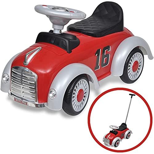 HUANGFINPI Farbe: Rot Kinderfahrzeuge Rotes Retro Kinder-Aufsitz-Auto...