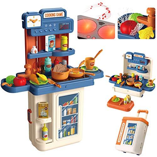 Kinderküche, 4 in 1 Trolley Koffer Spielküche inkl. Kochfeld mit...