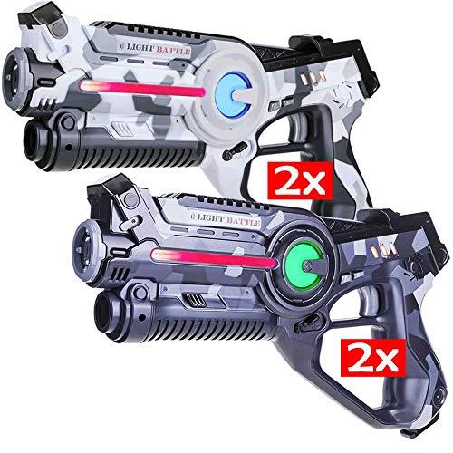 Light Battle Active Lasertag Set - 4 Spielzeugpistolen (camo grau,...
