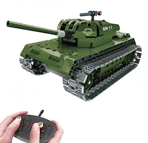 Modbrix Bausteine 2,4 Ghz RC Panzer Ferngesteuert, Konstruktionsspielzeug mit 453 Bauteilen, kompatibel mit...