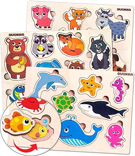 Quokka Spielzeug Puzzle ab 1 2 3 Jahre - Montessori Holz...
