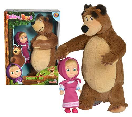 Mascha und der Bär Set Plüschbär + Puppe, klein