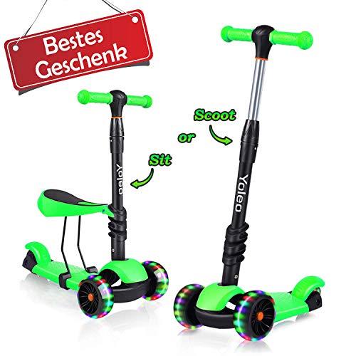 YOLEO 3-in-1 Kinderscooter Kinder Roller mit Abnehmbarem Sitz, LED...