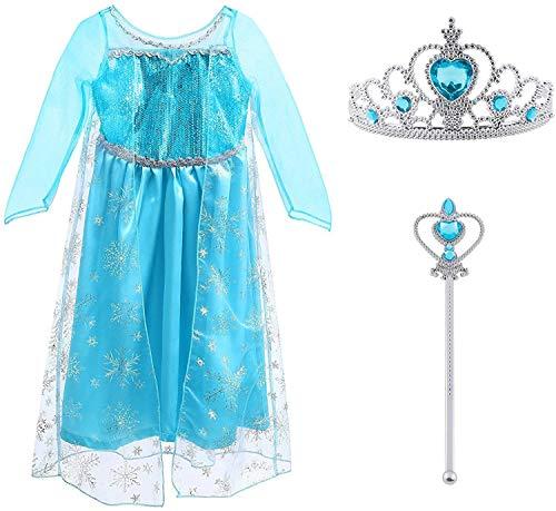 Vicloon Prinzessin Kostüm Mädchen, Eiskönigin ELSA Kleid Blau mit...