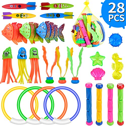 balnore 28 Stück Tauchspielzeug Unterwasser Pool Spielzeug Set Tauchring Kinder Tauchen Schwimmbad Spielzeug...