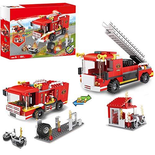2 in 1 City Fire Truck Feuerwehrstation Bausteine Feuerwehrfahrzeuge...