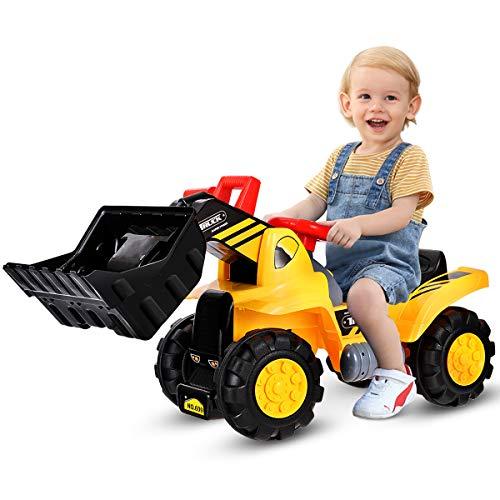 COSTWAY Sitzbagger mit eingebautem Ablagefach, Kinderbagger mit 4...