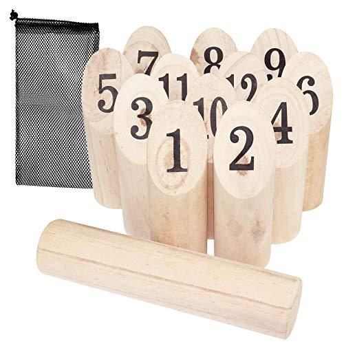 WELLGRO finnisches Wurfspiel 14-TLG. - für 2-8 Spieler, massiv Holz,...