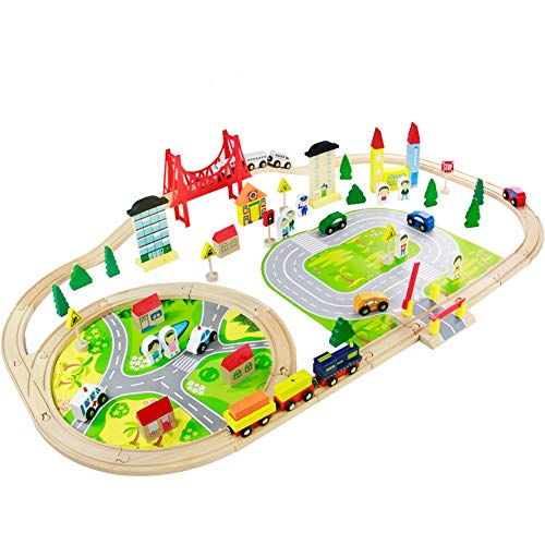 Nuheby Holzeisenbahn Eisenbahn Kinder 82 Teile Holzzug Bahnset mit...