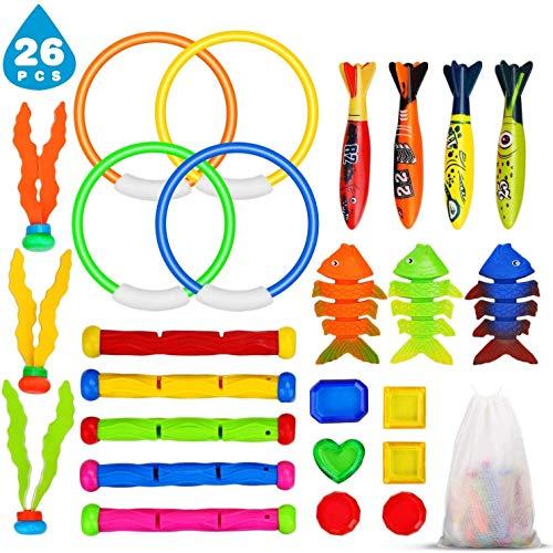Ucradle Tauchspielzeug Pool Spielzeug, 26 Stück Tauchen Spielzeug...