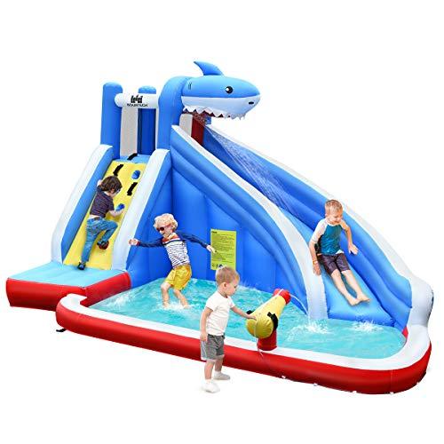 GOPLUS Aufblasbares Wasserspielcenter Hai, Wasserpark mit...