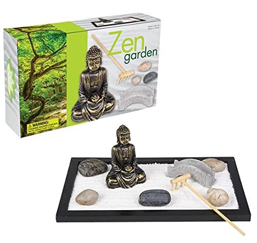 Japanisches Zen-Gartenset (27,9 x 16,5 cm) inkl. 7 Teile und 1 Rechen...