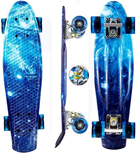 Oppikle 22' 55cm Mini Cruiser Skateboard Retro Komplettboard mit LED...