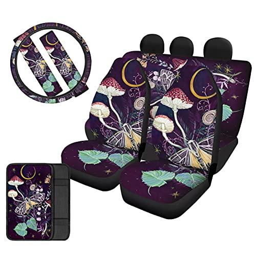 HUIACONG Autositzbezüge-Set für Damen, Pilzmotiv, Violett, für...