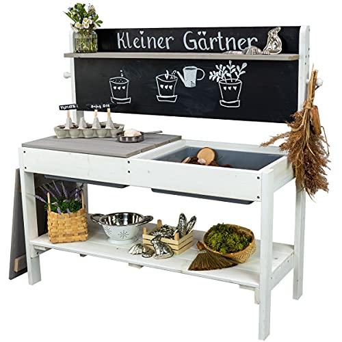 Meppi Matschküche Kleiner Gärtner - Weiss / grau - Outdoorküche aus...
