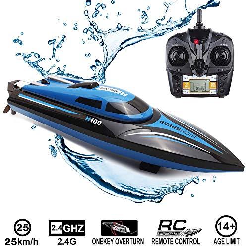 RC Boot Ferngesteuertes Boot, 2,4 GHz 25 km/h 4-Kanal Hochgeschwindigkeits RC Schnellboot Rennboot für Kinder...