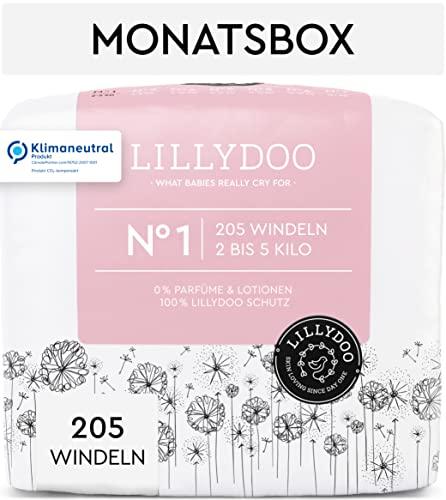 LILLYDOO Windeln, Größe 1 (2-5 kg), 205 Windeln, Monatsbox