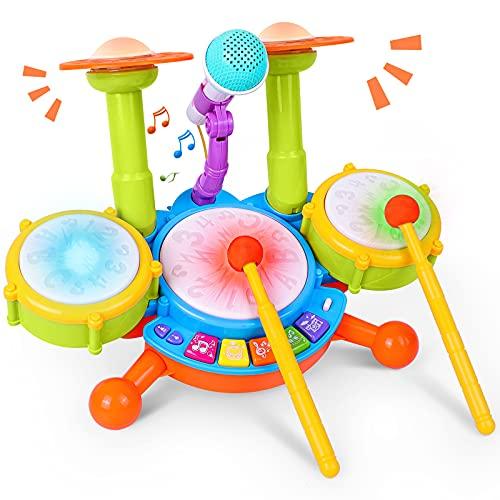 Kinder Trommel Set, Rabing Musikinstrumentenspielzeug mit 2...