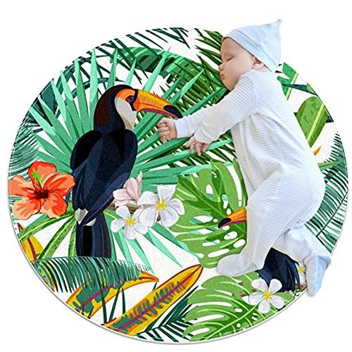 Rund Teppich Kinder Tropische Vögel Kinderteppich Kreatives Drucken...