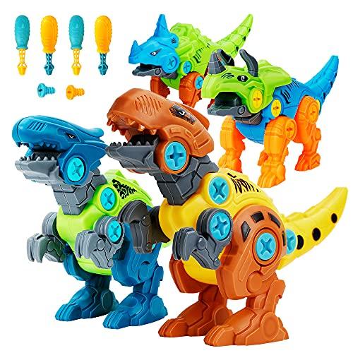 Lekebaby Dinosaurier Montage Spielzeug, 4 Stück DIY Dinosaurier...