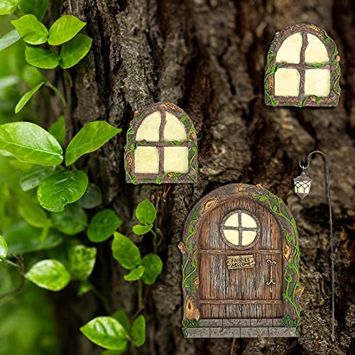 LOVOICE Landhaus Feen Tür,Miniatur Fee Elf Haustür und Fenster,...