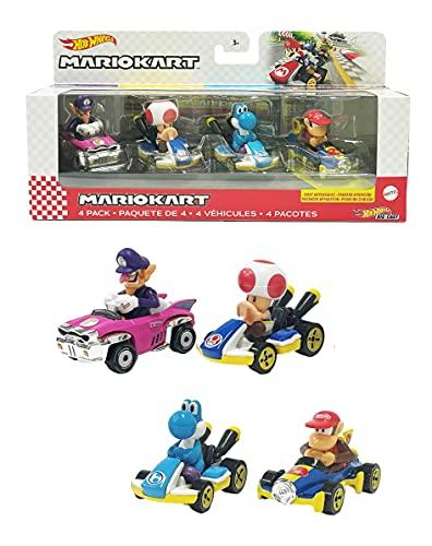 Hot Wheels GXX98 - Mario Kart-Fahrzeug (4er-Pack), Set mit 4 beliebten...