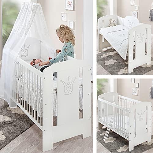 Weißes Premium Babybett (Kinderbett) – 60 x 120 Babybett umbaubar...