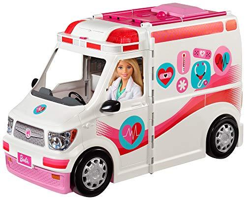 Barbie FRM19 - 2-in-1 Krankenwagen, aufklappbares Fahrzeug mit Licht...