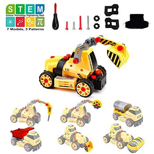 Amy & Benton Montage von Spielzeuglastwagen für Kinder Junge, 7 in 1 Bauingenieur Zerlegen Sie Fahrzeuge für...