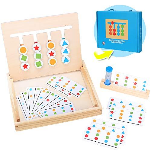 Montessori Spielzeug Holz Puzzle Sortierbox, Kinder Lernspielzeug 4 Farb Form Matching Spiel mit Sanduhr Spiel...