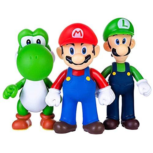 AINOLWAY 3 Stück / Set Super Mario Spielzeug - Mario & Luigi Figuren...