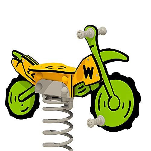WICKEY Federwippe PRO Motorrad Crossey grun/gelb für öffentliche...