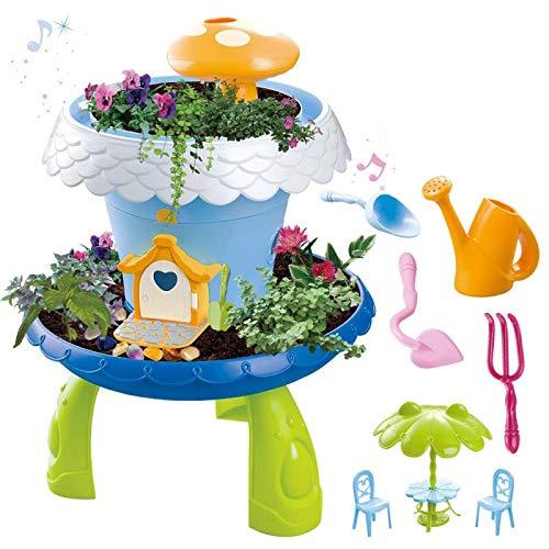 deAO Märchengartenhäuschen- magisches Gartenspielset für Kinder mit Grassamen und Pflanzenerde