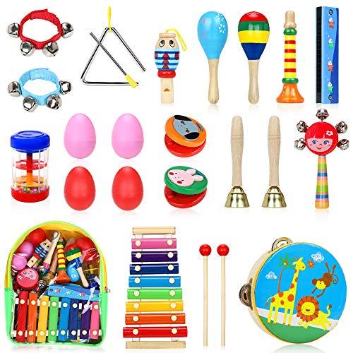 Jojoin Musikinstrumente Kinder Set, 24 Stück Holz Percussion Set für...