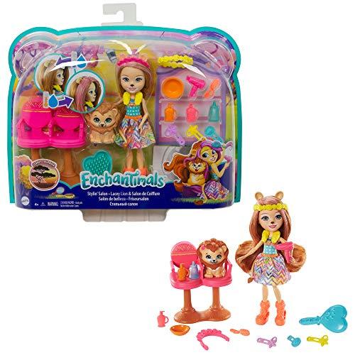 Enchantimals GTM29 - Friseursalon mit Lacey Lion Puppe (15 cm) &...