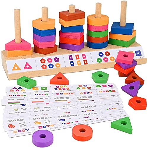 GOLDGE Geometrisches Holzspielzeug für 1 2 3 Jahre alte Jungen...