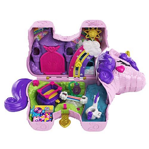 Polly Pocket GVL88 - Polly Pocket Einhorn-Party Spielset, Polly und Lila Puppe und über 25 Überraschungen