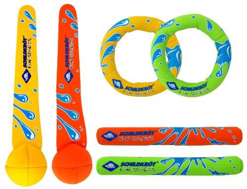 Schildkröt Neopren Diving Set, 6-teiliges Tauchset, je 2 Ringe, Stäbe, Bälle, Sandfüllung, weich, stehen...