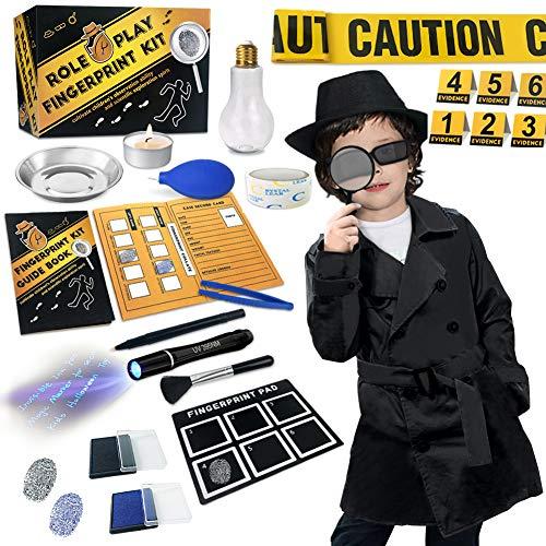Detektiv set kinder kostüm geburtstag Spion Fingerabdruecke... *